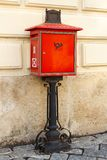 Traditional unique red postbox stock photo