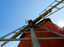 Traditional red painted Swedish windmill Stock Image