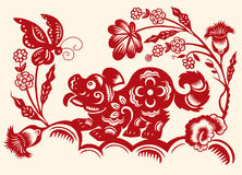 Traditional red paper cut out of Chinese dog zodiac sign.Vector Stock Photo