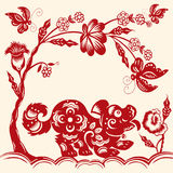 Traditional red paper cut out of Chinese dog zodiac sign.Vector Royalty Free Stock Image