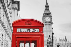 Red telephone box and Big Ben. London, UK royalty free stock photos
