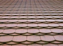 Traditional Roof Pattern Texture in Perspective. Traditional red roof flat plain tile pattern texture in perspective Stock Photo