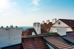 Traditional red roof tops in Prague Stock Photography