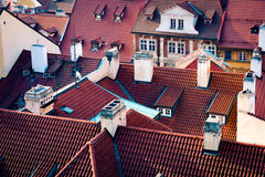 Traditional red roof tops in Prague Stock Image