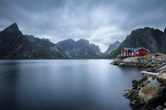 Traditional red rorbu cottage in Hamnoy village, Lofoten islands, Norway Stock Image
