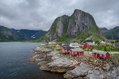 Traditional red rorbu cottages  in Hamnoy village, Lofoten islan Royalty Free Stock Photos