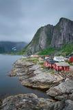 Traditional red rorbu cottages  in Hamnoy village, Lofoten islan Royalty Free Stock Photo