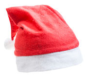 Traditional red santa hat isolated on white Royalty Free Stock Images