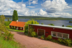 Traditional red Swedish cottage house Royalty Free Stock Photography