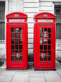 Traditional red telephone booths in London, England Stock Photo