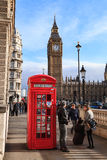Traditional Red Telephone Box and Big Ben in London, UK Stock Photos