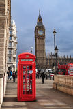 Traditional Red Telephone Box and Big Ben in London, UK Stock Images