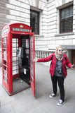 Traditional red telephone box on great saint george street in lo Royalty Free Stock Photography
