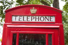 Traditional Red Telephone Box, London Royalty Free Stock Photo