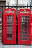 Traditional Red Telephone Box, London. Traditional Red Telephone Cabin Box in London, England, UK Stock Photos