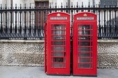 Traditional Red Telephone Box, London. Traditional Red Telephone Cabin Box in London, England, UK Royalty Free Stock Photography