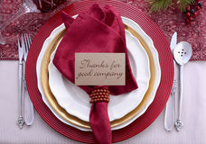 Traditional red theme Thanksgiving table place setting. Royalty Free Stock Image