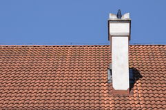 Traditional red tile on roof Stock Photography