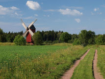 Traditional red windmill. On Aland islands Royalty Free Stock Photography