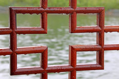 Traditional red wood pane Stock Photography