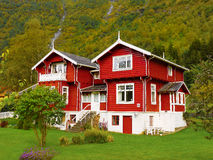 Traditional Red Wooden House, Norway Stock Images