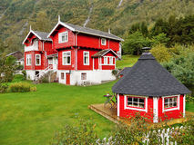 Traditional Red Wooden House, Norway Royalty Free Stock Photo