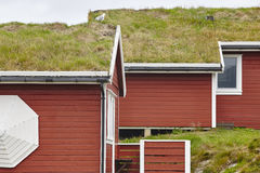 Traditional red wooden norwegian cabins with ground on the roof. Horizontal royalty free stock image