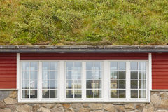 Traditional red wooden norwegian cabins with ground on the roof. Horizontal royalty free stock photo