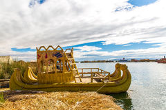 Traditional reed boat lake Titicaca,Peru,Puno,Uros,South America,Floating  Islands Stock Images