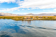 Traditional reed boat lake Titicaca,Peru,Puno,Uros,South America,Floating  Islands Royalty Free Stock Image