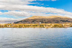 Traditional reed boat lake Titicaca,Peru,Puno,Uros,South America,Floating  Islands Royalty Free Stock Images