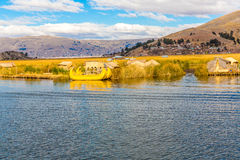 Traditional reed boat lake Titicaca,Peru,Puno,Uros,South America,Floating  Islands Stock Photos