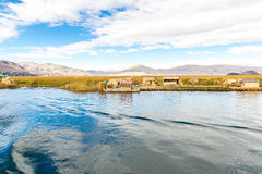 Traditional reed boat lake Titicaca,Peru,Puno,Uros,South America,Floating  Islands,natural layer Royalty Free Stock Photography