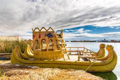 Traditional reed boat lake Titicaca,Peru,Puno,Uros,South America,Floating  Islands,natural layer Royalty Free Stock Photos