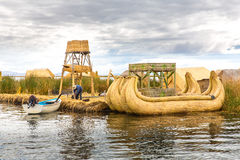 Traditional reed boat lake Titicaca,Peru,Puno,Uros,South America,Floating  Islands,natural layer Royalty Free Stock Image