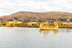 Traditional reed boat lake Titicaca,Peru,Puno,Uros,South America,Floating  Islands,natural layer Stock Image