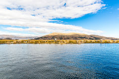 Traditional reed boat lake Titicaca,Peru,Puno,Uros,South America,Floating  Islands,natural layer Stock Photography