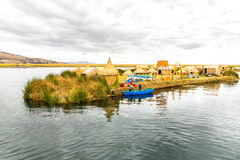 Traditional reed boat lake Titicaca,Peru,Puno,Uros,South America,Floating  Islands,natural layer Stock Images