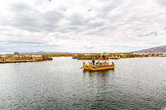 Traditional reed boat lake Titicaca,Peru,Puno,Uros,South America,Floating  Islands,natural layer Stock Photos