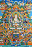 Traditional religion painting of Tibet, China. Tibet culture, traditional artwork as painting, named Tangka, with Buddha and religion symbol Stock Photo