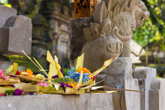 Traditional religious balinese offerings in Bali Royalty Free Stock Image