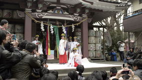 Traditional religious dance at a shrine stock footage