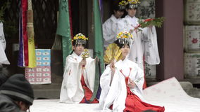 Traditional religious dance at a shrine stock video footage