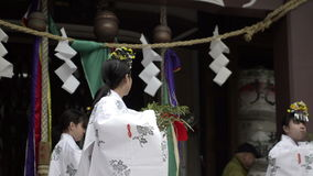 Traditional religious dance at a shrine stock video