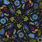 Traditional renaissances flower illustration seamless pattern Stock Image
