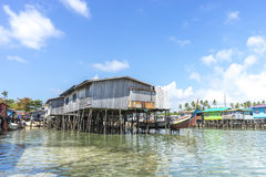 Traditional Resort. SABAH, MALAYSIA - AUGUST 15, 2015 : Traditional floating resort at Mabul Island, Sabah, Malaysia Stock Photo