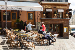 Traditional restaurant in the Butte Montmartre. Paris, France Stock Images