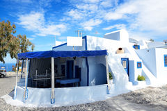 The traditional restaurant on Santorini island Stock Photo
