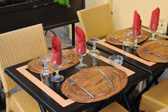 Traditional restaurant table Royalty Free Stock Images