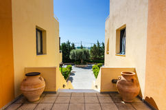 Traditional Rhodes architecture with symbolical pots Stock Images